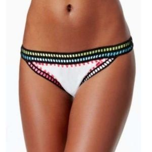 Bar III White Pink Trim Cheeky Bikini Bottom